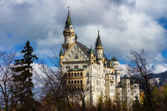 Beautiful view of world-famous Neuschwanstein Castle, the 19th century Romanesque Revival palace built for King Ludwig II, with sc Royalty Free Stock Photos