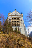 Beautiful view of world-famous Neuschwanstein Castle, the 19th century Romanesque Revival palace built for King Ludwig II, with sc. Enic mountain landscape near stock images
