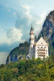 Beautiful view of world-famous Neuschwanstein Castle, the 19th century Romanesque Revival palace built for King Ludwig II. With scenic mountain landscape near royalty free stock images