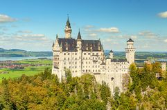 Beautiful view of world-famous Neuschwanstein Castle, the 19th century Romanesque Revival palace built for King Ludwig II. With scenic mountain landscape near stock photo