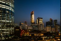 Beautiful view of World trade center in Abu Dhabi city immediately after sunset. UAE royalty free stock photos
