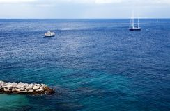 Beautiful view of yacht and boat by Capri Island. Southern Italy Royalty Free Stock Photography