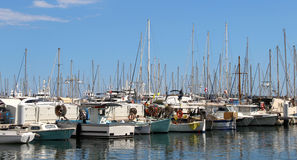 Beautiful view of yachts in Cannes, France Stock Images