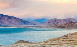 Nice view of Pamir in Tajikistan. Beautiful view of  Yashikul Lake in Pamir in Tajikistan Royalty Free Stock Photography