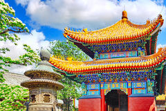 Beautiful View of Yonghegong Lama Temple.Beijing. Lama Temple is Royalty Free Stock Photo