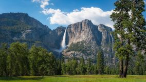 Upper Falls In Yosemite National Park. The beautiful view of Yosemite Falls from Yosemite Valley in California Stock Image