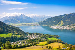 Beautiful view of Zell am See, Austria. Beautiful view of the city of Zell am See with Zeller Lake in Salzburg, Austria Stock Photography