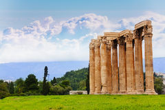 Beautiful view of Zeus temple in Athens, Greece Stock Photo