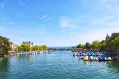 Beautiful view of Zurich and lake, Switzerland. Royalty Free Stock Photography