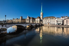 Beautiful view of Zurich and river Limmat Royalty Free Stock Photos