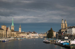 Beautiful view of Zurich and river Limmat Stock Photography