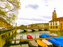 Beautiful view of Zurich and river Limmat, Switzerland. Beautiful view of Zurich and river Limmat at Switzerland royalty free stock image