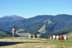 Beautiful views of the Carpathian mountains, people are enjoying the view Royalty Free Stock Photo