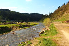 Beautiful views of the Carpathians mountains and river Royalty Free Stock Photo