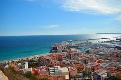 Alicante, Beach, Mediterranean Sea,palm,blue sky,port,views from the castle Stock Image