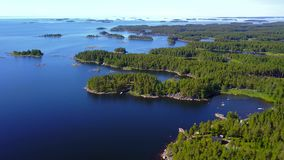 Beautiful views of the coastline and the islands of the archipelago on a clear sunny day. stock video footage