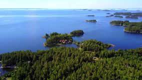 Beautiful views of the coastline and the islands of the archipelago on a clear sunny day. stock footage
