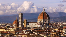 Beautiful views of Florence and Cathedral Santa Maria del Fiore, evening, Florence, Italy. Clouds, time-lapse. Evening. Beautiful views of Florence and stock footage