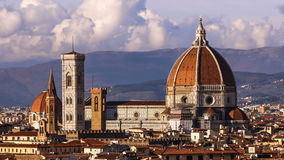 Beautiful views of Florence and Cathedral Santa Maria del Fiore, evening, Florence, Italy. Clouds, timelapse. Evening. Beautiful views of Florence and Cathedral stock video