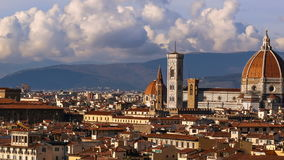 Beautiful views of Florence and Cathedral Santa Maria del Fiore, evening, Florence, Italy. Cloudy sky, time-lapse. Beautiful views of Florence and Cathedral stock footage