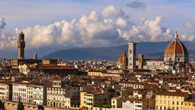 Beautiful views of Florence and Cathedral Santa Maria del Fiore, Florence, Italy. Cloudy sky, time-lapse. Beautiful views of Florence and Cathedral Santa Maria stock video