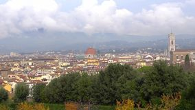 Beautiful views of Florence and Cathedral Santa Maria del Fiore from garden, Florence, Italy. Beautiful views of Florence and Cathedral Santa Maria del Fiore stock footage