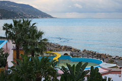 Beautiful views of the hotel grounds and the sea from the room balcony. Marina di Patti. Sicily Royalty Free Stock Images
