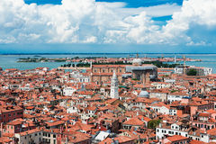 Beautiful views of the houses Venice with red tile roofs Stock Photography