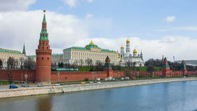 Beautiful views of the Kremlin Embankment and the ancient Moscow Kremlin