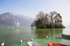 Beautiful views of Lake Annecy in the French Alps, a spring day. The town of Annecy. Royalty Free Stock Photography