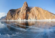 Beautiful views of the lake Baikal winter Stock Photos
