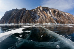 Beautiful views of the lake Baikal winter Stock Photography