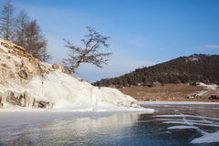 Beautiful views of the lake Baikal winter Stock Image