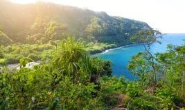 Beautiful views of Maui North coast seen from famous winding Road to Hana. Hawaii. USA Stock Photos