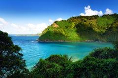 Beautiful views of Maui North coast seen from famous winding Road to Hana Stock Image