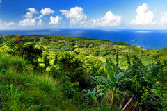 Beautiful views of Maui North coast seen from famous winding Road to Hana Stock Photography