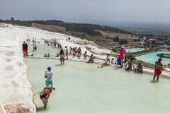 Beautiful views of the natural travertine pools and terraces Stock Photos