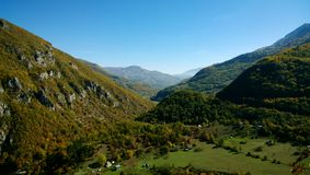 Beautiful views of one of the gorges of Montenegro in the autumn clear warm Sunny weather Royalty Free Stock Photo