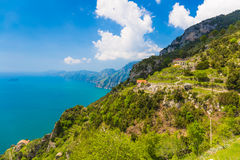Beautiful views from path of the gods, Amalfi coast, Campagnia region, Italy royalty free stock photos