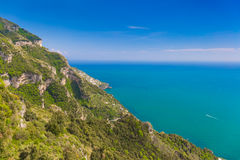 Beautiful views from path of the gods, Amalfi coast, Campagnia region, Italy Royalty Free Stock Images