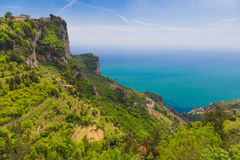 Beautiful views from path of the gods with lemon tree fields, Amalfi coast, Campagnia region, Italy Royalty Free Stock Images