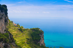 Beautiful views from path of the gods with lemon tree fields, Amalfi coast, Campagnia region, Italy Royalty Free Stock Image