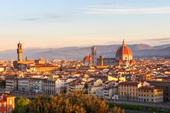 Beautiful views and peace of Florence cityscape in the backgroun. D Cathedral Santa Maria del Fiore at sunrise in Italy, Europe Stock Photo