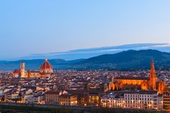 Beautiful views and peace of Florence cityscape in the backgroun. D Cathedral Santa Maria del Fiore at sunset in Italy, Europe Stock Photo