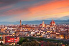 Beautiful views and peace of Florence cityscape in the backgroun. D Cathedral Santa Maria del Fiore at sunrise in Italy, Europe Royalty Free Stock Images