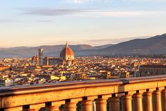 Beautiful views and peace of Florence cityscape in the backgroun. D Cathedral Santa Maria del Fiore at sunrise in Italy, Europe Royalty Free Stock Image