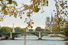 Seine embankment in autumn weather. Royalty Free Stock Photography