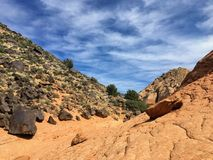 Views of sandstone and lava rock mountains and desert plants around the Red Cliffs National Conservation Area on the Yellow Knolls. Beautiful Views of sandstone Royalty Free Stock Photo