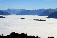 Above the clouds. Beautiful views from the top of Mount Pilatus in Switzerland Royalty Free Stock Image