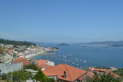 Beautiful views of the town of Raxo and the beach of Xiorto. Nature, Architecture, History. August 19, 2014. Raxo, Pontevedra, stock image